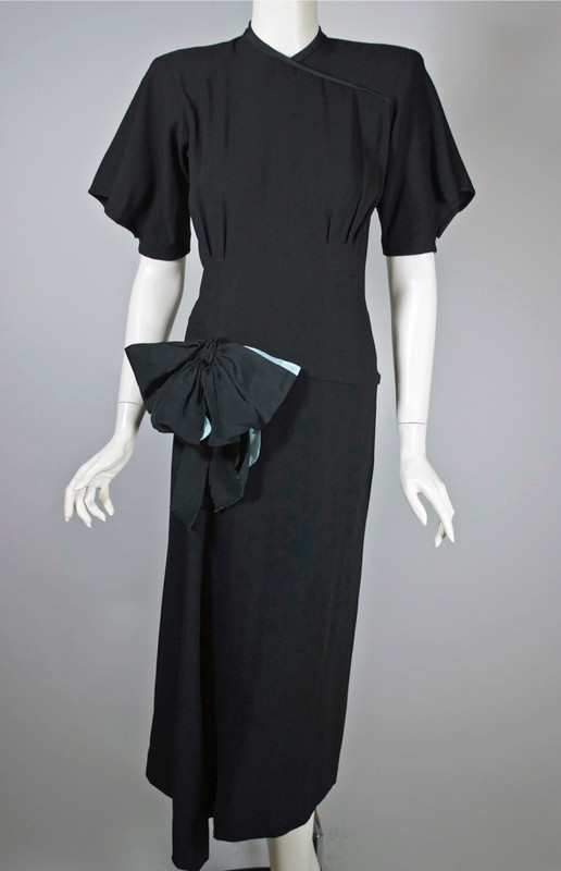 Film noir style late 1940s cocktail dress black rayon side draped skirt XS