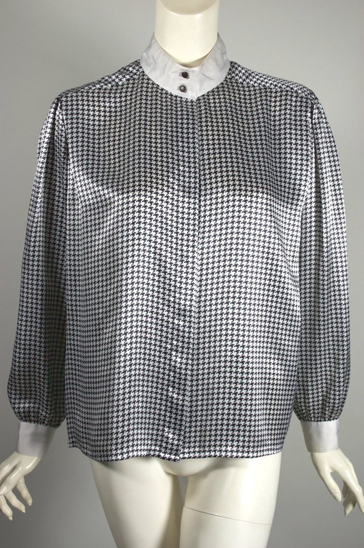 Black white houndstooth 1980s blouse Louis Feraud top M-L 42 bust