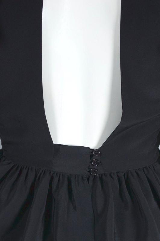 Backless black silk blouse 1970s ruffled top XS 32 bust 23 waist
