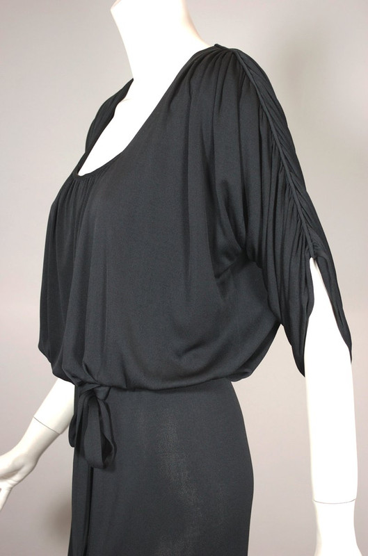 vintage Becky Bisoulis draped black jersey 1980s dress size XXS