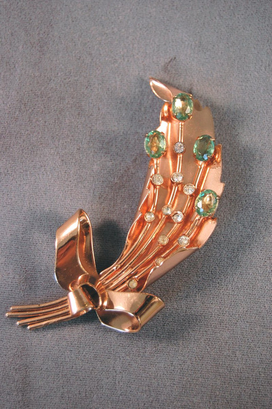 Signed Corocraft 1940s sterling pin rose gold filled 40s leaf brooch
