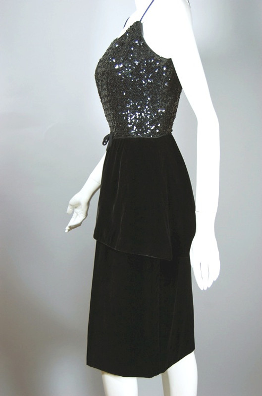 Peplum 1950s dress black velvet sequins 50s cocktail dress size XS