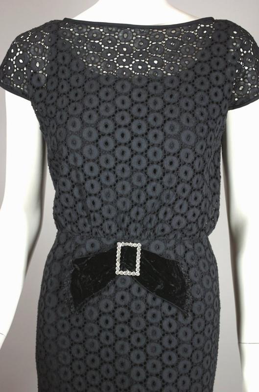 1960s cocktail dress black eyelet lace rhinestone trim XS S 27 waist