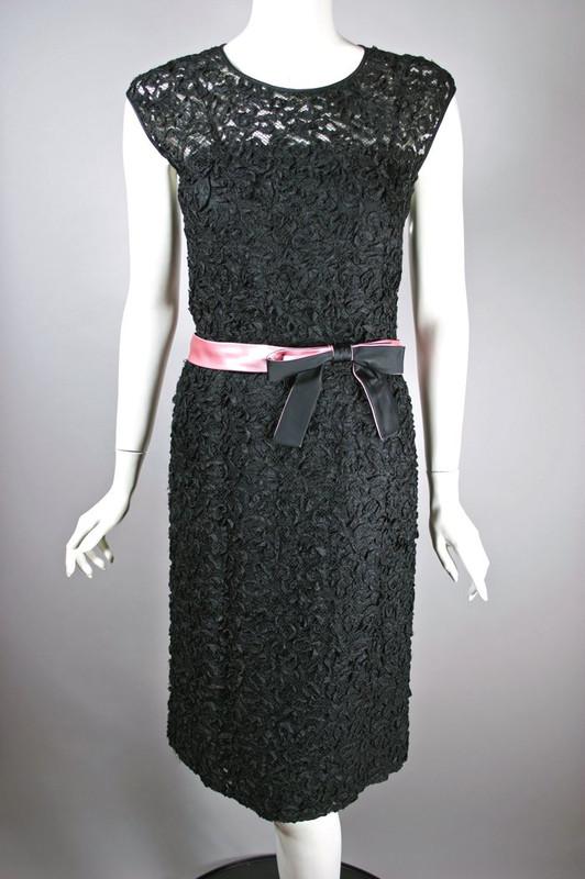 Cocktail dress 1960s black size S 27 inch waist sheer mesh ribbon