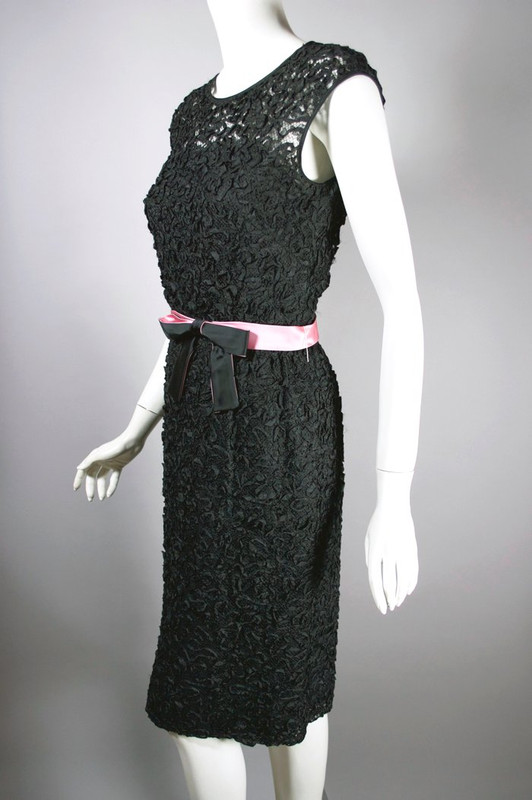 Cocktail dress 1960s black size S 27 inch waist sheer mesh ribbon