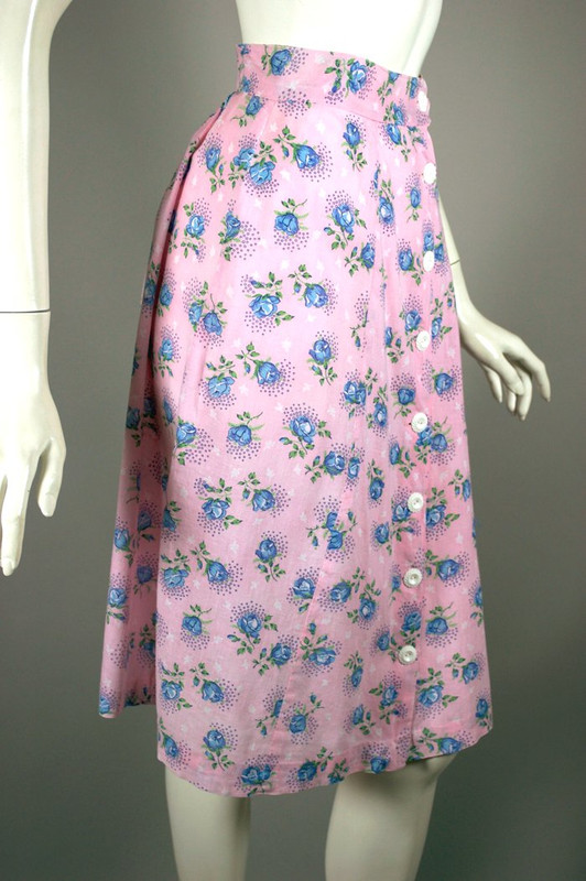 1940s skirt lightweight cotton pink blue roses print size S 28 waist