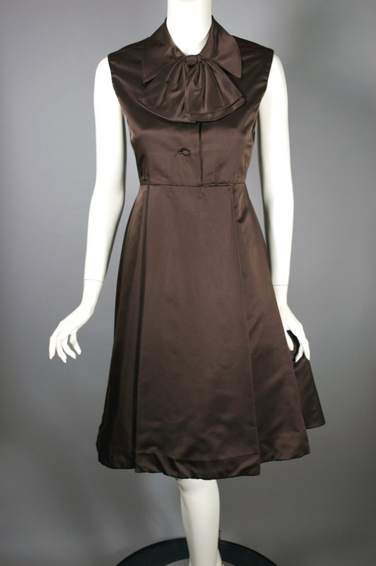 Vintage cocktail dress 1960s brown silk satin party dress size S 34 bust
