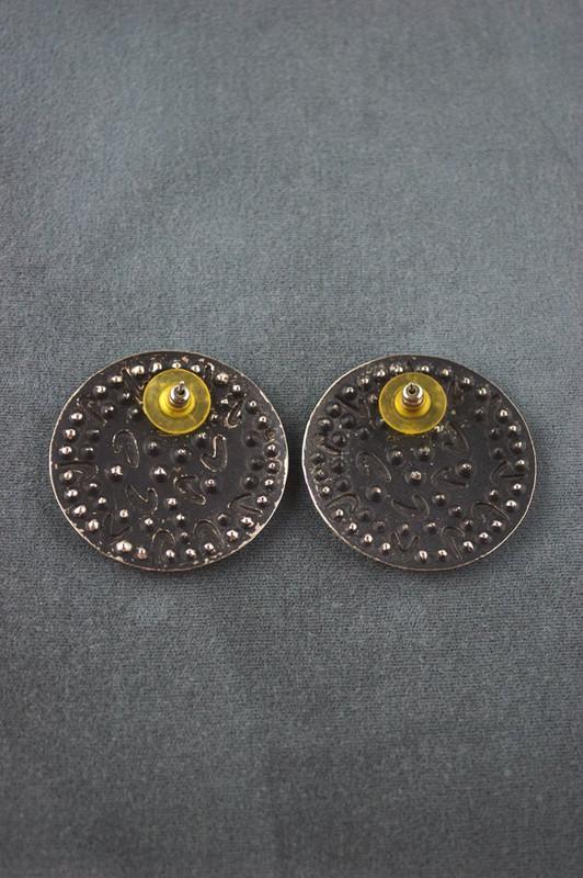 Glam 80s earrings rhinestones boomerangs large button earrings pierced