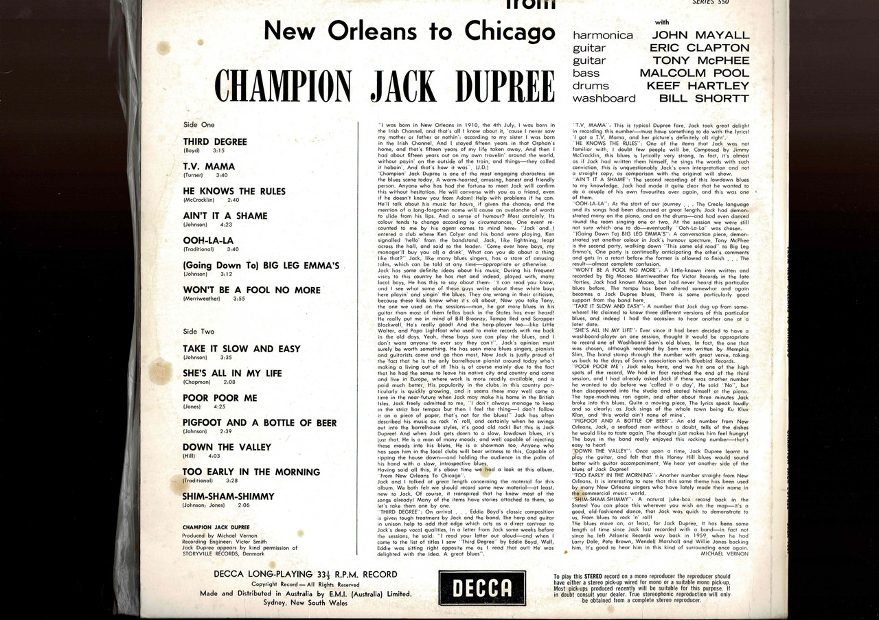 Champion Jack Dupree-From New Orleans To Chicago-VINYL LP-USED-Aussie press