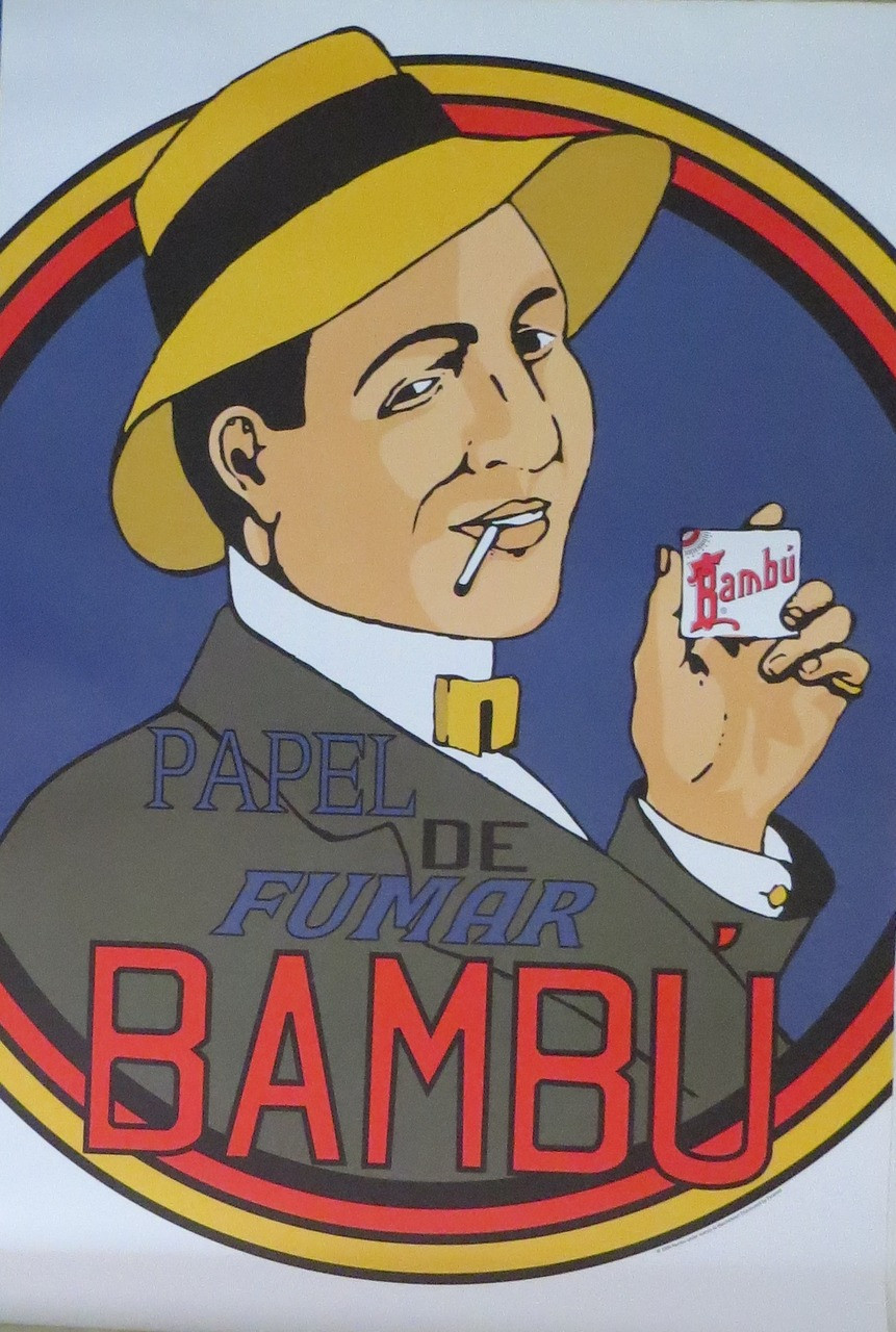 BAMBU-Papel de Fumar-Cigarette Advertising- Poster-Laminated available-90cm x 60cm-Brand New