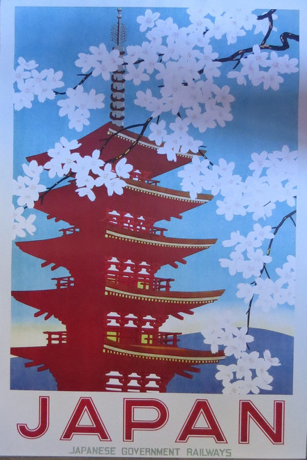 Japan Railways blossoms vintage advertising Poster-Laminated available 90cm x 60cm-Brand New