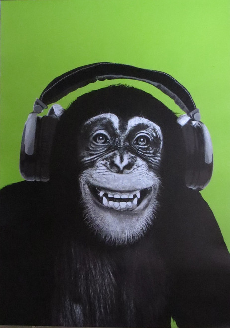CHIMP-HEADPHONES-PopArt- Poster-Laminated available-90cm x 60cm-Brand New