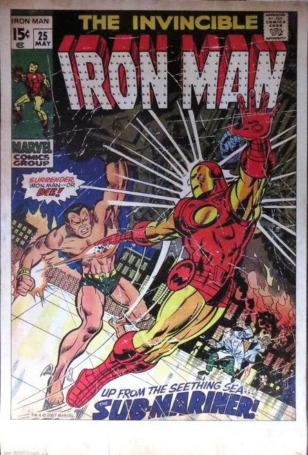 Iron Man #25  v Submariner-Marvel  comic cover- Poster-Laminated Available-85cm x 55cm-Brand New
