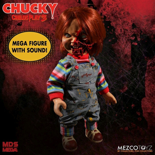 "Child's Play 3 - Chucky Pizza Face 15"" Talking Action Figure-MEZ78020"