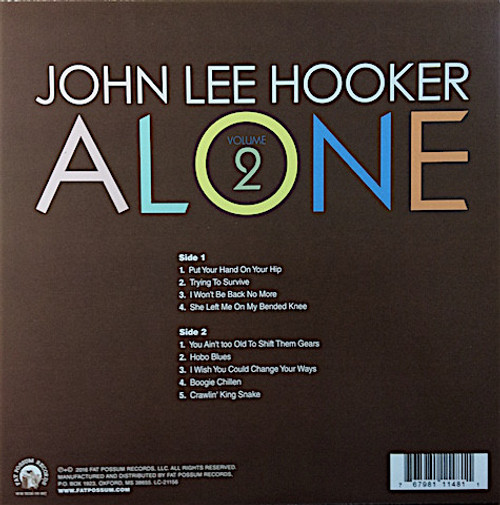 JOHN LEE HOOKER-Alone Vol. 2 (download included) Vinyl LP-Brand New-Still Sealed