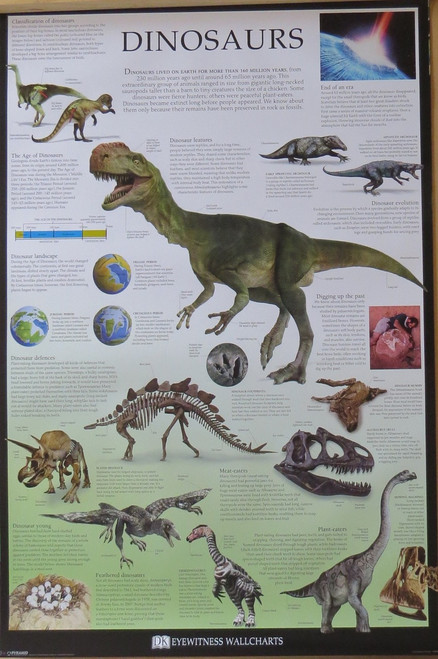Dinosaurs-Dorling Kindersley Chart- Poster-Laminated available-91cm x 61cm-Brand New