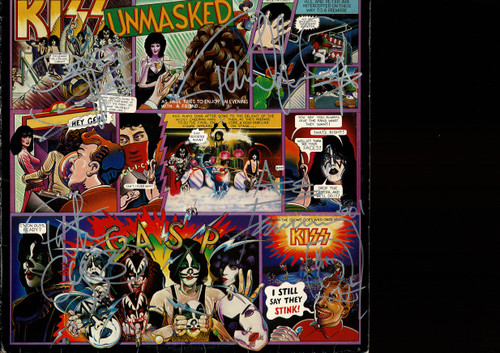 Kiss-Autographed Unmasked LP sleeve-Signed Australia 2001-Sleeve only