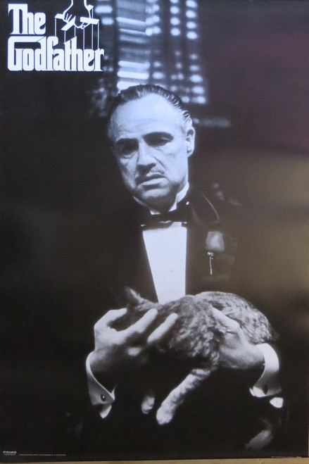The Godfather with Cat - Poster-Laminated available-90cm x 60cm-Brand New