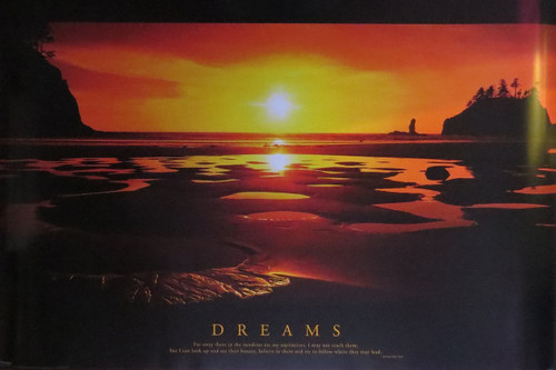 Dreams motivational   Sunset Beach- Poster-Laminated available-90cm x 60cm-Brand New
