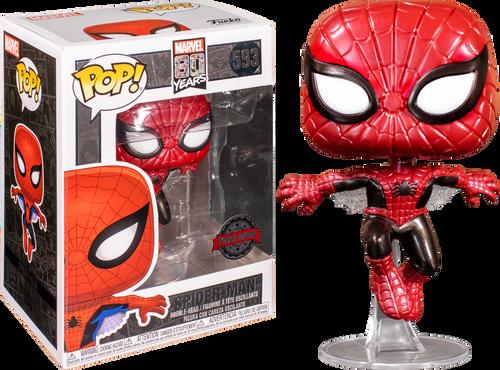 Spider-Man - Spider-Man First Appearance Metallic 80th Anniversary US Exclusive Pop! Vinyl [RS]-FUN47604-FUNKO