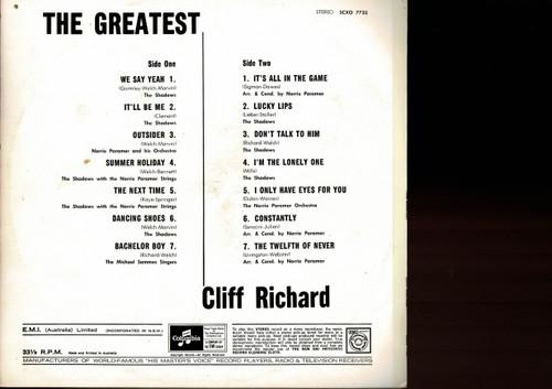 Cliff Richard-The Greatest-VINYL LP-USED-Aussie press