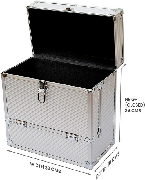 "Aluminium DJ Record Storage Flight Case-Holds 40 12"" Vinyl LP Box-Tough, Strong"
