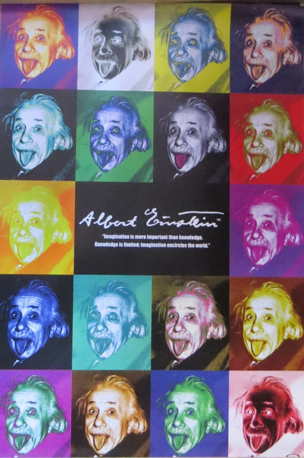 ALBERT EINSTEIN POP ART -Poster-Laminated available-90cm x 60cm-Brand New