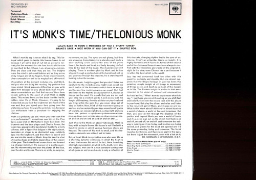 THELONIOUS MONK-IT'S MONK TIME (180 GRAM) Vinyl LP-Brand New-Still Sealed