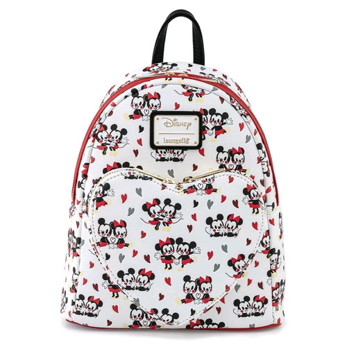 Mickey Mouse - Mickey & Minnie Heart Mini Backpack-LOUWDBK1449-LOUNGEFLY