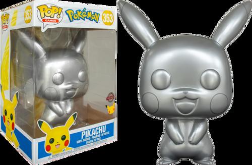 "Pokemon - Pikachu Silver Metallic 25th Anniversary 10"" US Exclusive Pop! Vinyl [RS]-FUN54588-FUNKO"