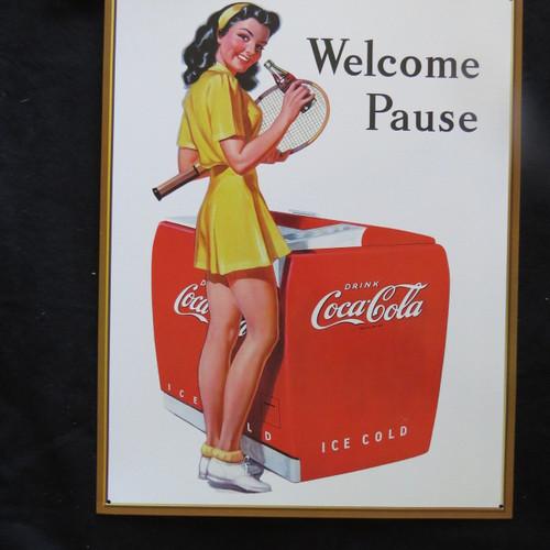 COKE-Coca Cola-Welcome Pause Ten- 40 x 32 cm-Retro Rustic Metal Tin Sign Man cave