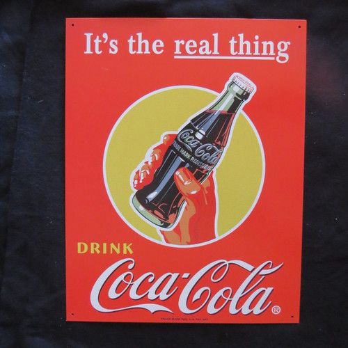 COKE - Real Thing - Bottle in- 40 x 32 cm-Retro Rustic Metal Tin Sign Man cave