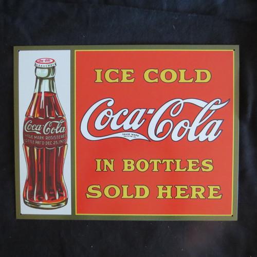 COKE-Coca Cola-Sold Here in Bottles - 40 x 32 cm-Retro Rustic Metal Tin Sign Man cave