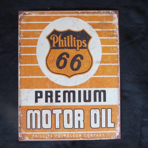 Phillips 66 Premium Motor Oil- 40 x 32 cm-Retro Rustic Metal Tin Sign Man cave