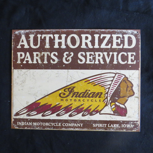 Authorized Indian Parts and Service  - 40 x 32 cm-Retro Rustic Metal Tin Sign Man cave