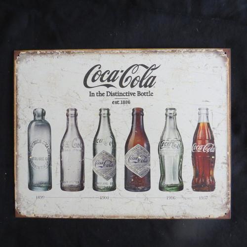 COKE -Coca Cola Bottle Evolution- 40 x 32 cm-Retro Rustic Metal Tin Sign Man cave