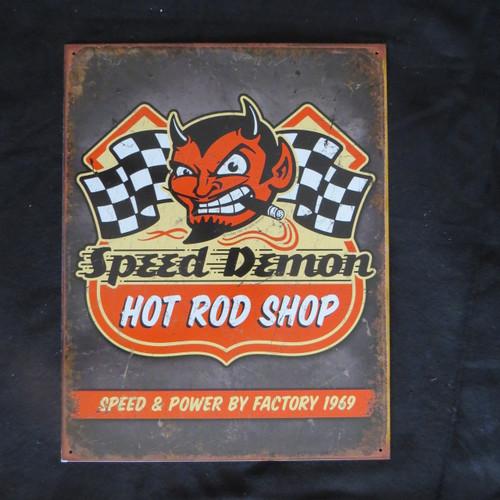 Speed Demon Hot Rods- 40 x 32 cm-Retro Rustic Metal Tin Sign Man cave