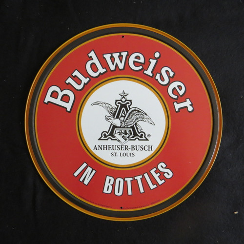Budweiser-BUD-In Bottles-30 cm Round-Retro Rustic Metal Tin Sign Man cave