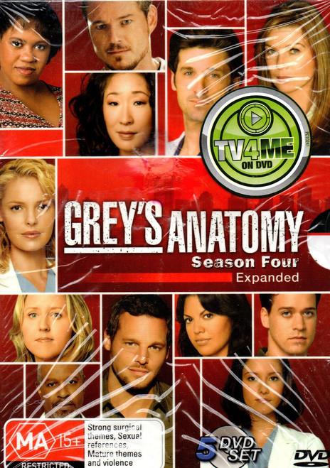 Grey's Anatomy-Season 4 (5 Disc Set) DVD-Region 4-Brand New-Still Sealed