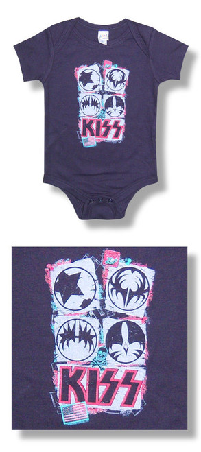 Kiss American Flag One Piece Baby Romper-24 Months-Brand New