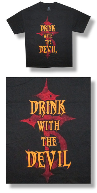 Devil Driver Drink With The Devil Tee-Large-T Shirt-Brand New