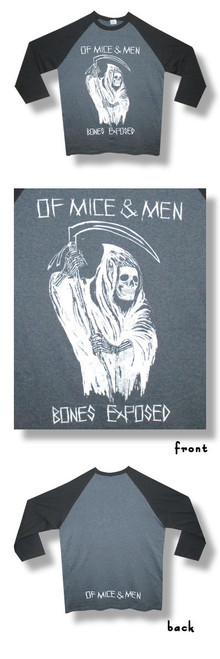 Of Mice & Men Bones Exposed 30/1 Raglan-Large-T Shirt-Brand New