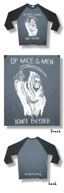 Of Mice & Men Bones Exposed 30/1 Raglan-XL-T Shirt-Brand New