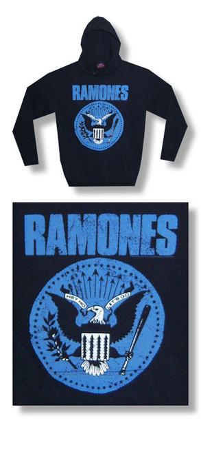 The Ramones Jumbo Blue Seal Hooded Fleece-Hoodie-Large-Brand New