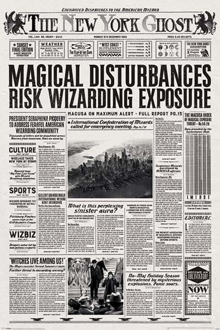 Fantastic Beasts - Newspaper-Poster-Laminated available-91cm x 61cm-Brand New-PP34004