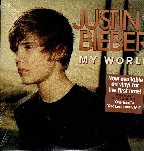 "JUSTIN BIEBER -My World ""One Time"" ""One Less Lonely Girl"" Vinyl LP-Brand New-Still Sealed"
