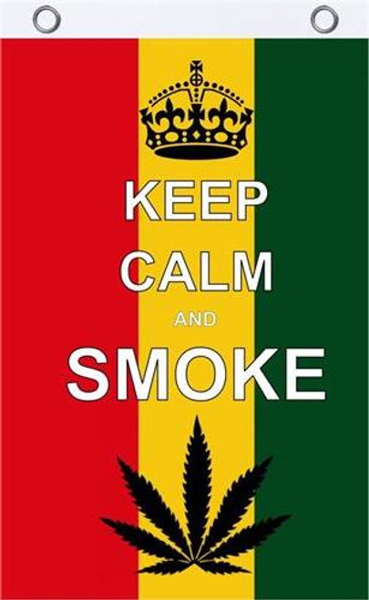 KEEP CALM & SMOKE-Marijuana-Cannabis  Textile Fabric Poster Flag-150cm x 90cm-Brand New