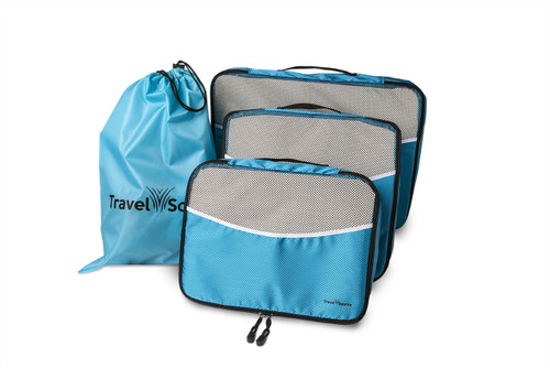 Travel Source-Blue Luggage Packing Cubes with Drawstring Laundry Bag (5 Piece Set)