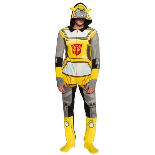 Transformers Bumblebee Hooded Unisex Onesie with Thumb Holes and Removable Feet-Large