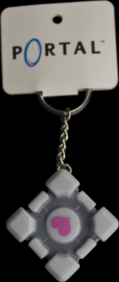 Portal Companion Cube Vinyl Keychain-CROP256